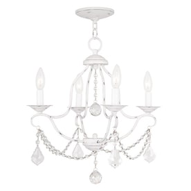Shop white chandeliers at lowes livex lighting chesterfield 18 in 4 light antique white vintage candle chandelier aloadofball Images