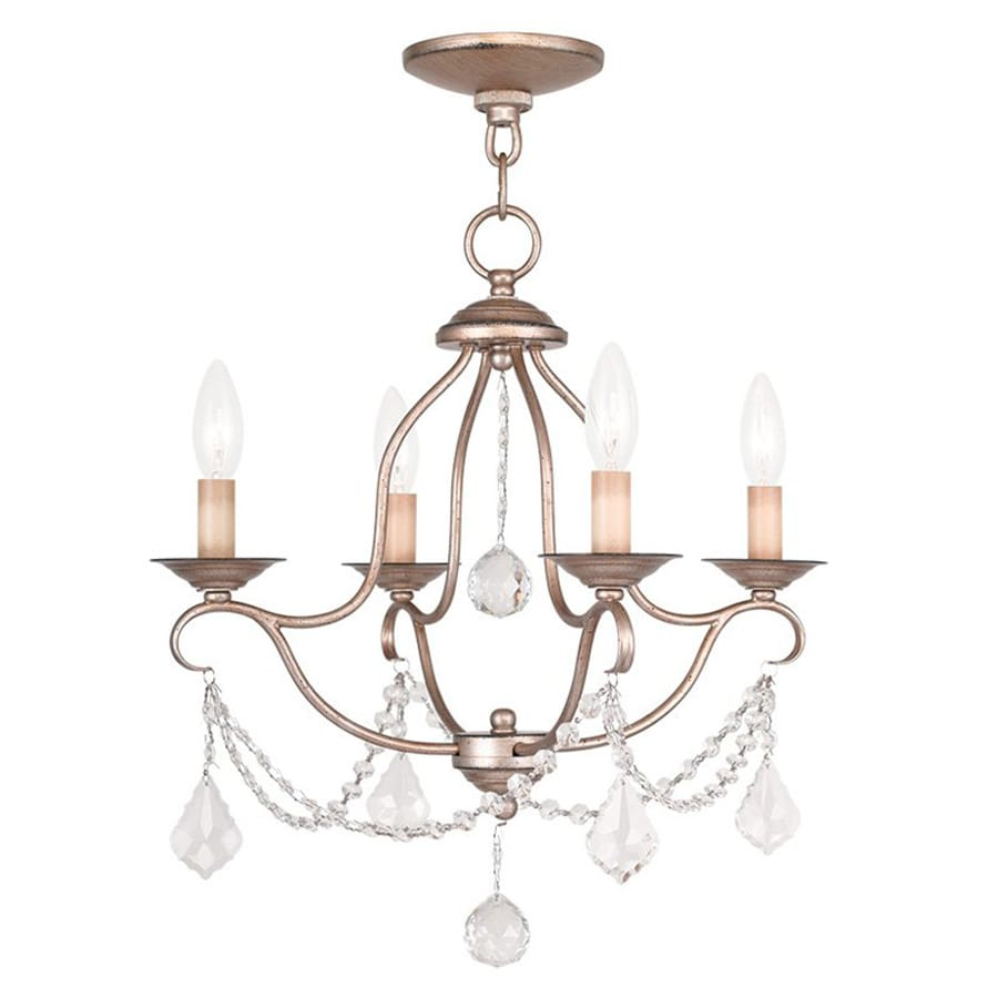 Livex Lighting Chesterfield 18-in 4-Light Antique Silver Leaf Vintage Candle Chandelier