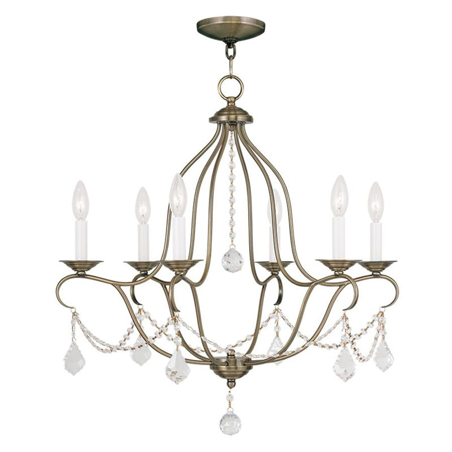 Livex Lighting Chesterfield 25-in 6-Light Antique Brass Vintage Candle Chandelier