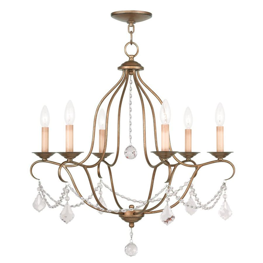 Livex Lighting Chesterfield 25-in 6-Light Antique Gold Leaf Vintage Candle Chandelier