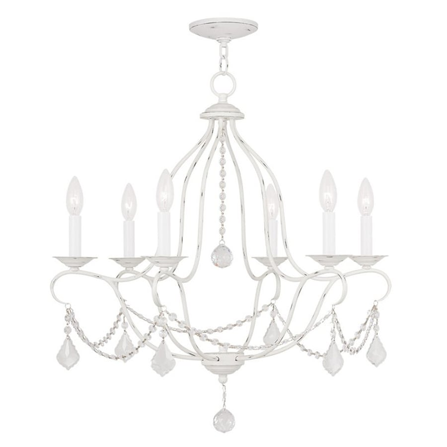 Livex Lighting Chesterfield 25-in 6-Light Antique White Vintage Candle Chandelier