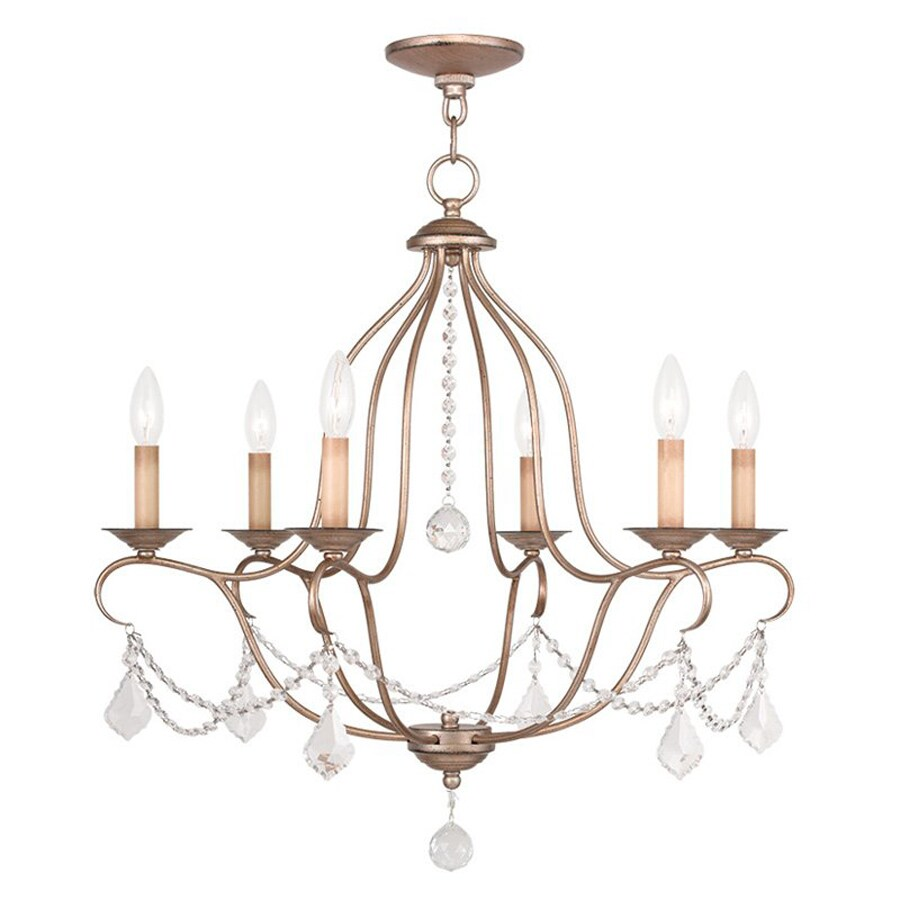 Livex Lighting Chesterfield 25-in 6-Light Antique silver leaf Vintage Candle Chandelier