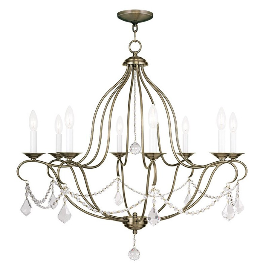 Livex Lighting Chesterfield 32-in 8-Light Antique Brass Vintage Candle Chandelier