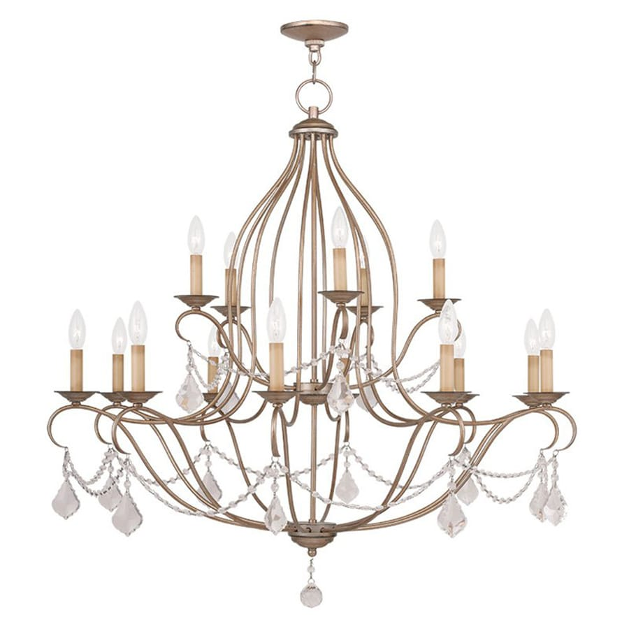 Livex Lighting Chesterfield 38-in 15-Light Antique Silver Leaf Vintage Tiered Chandelier