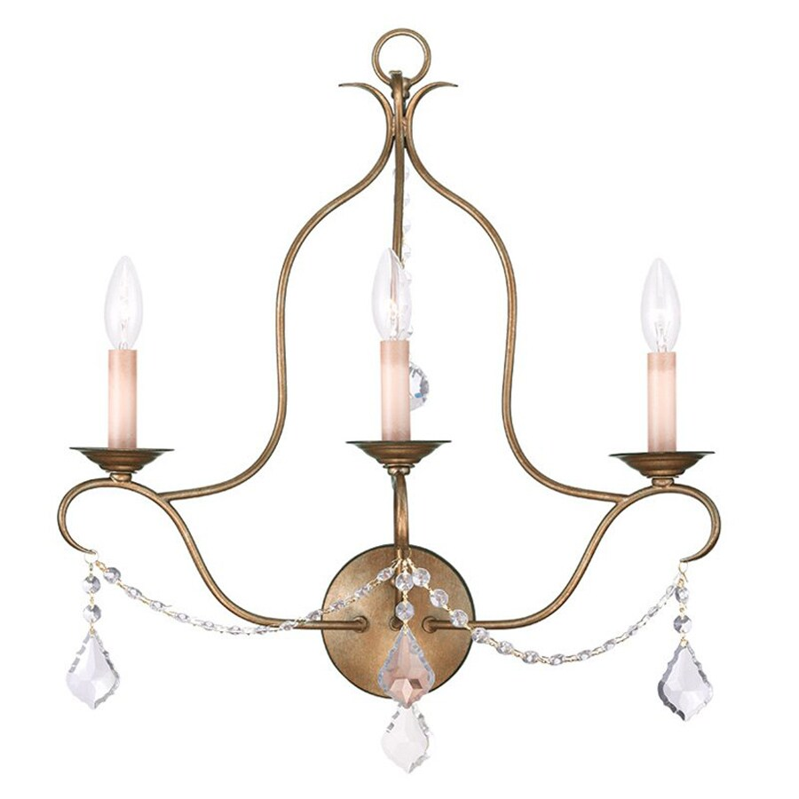 Livex Lighting Chesterfield 20-in W 3-Light Antique gold leaf Candle Wall Sconce