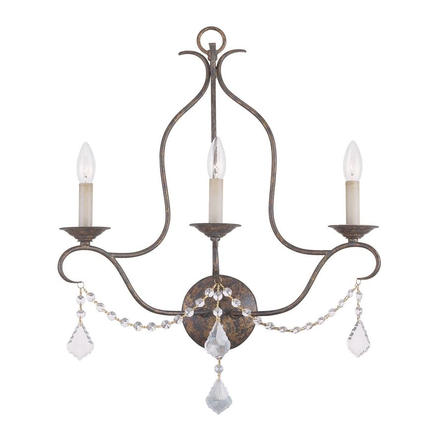Livex Lighting Chesterfield 20-in W 3-Light Venetian Golden Bronze Candle Hardwired Wall Sconce