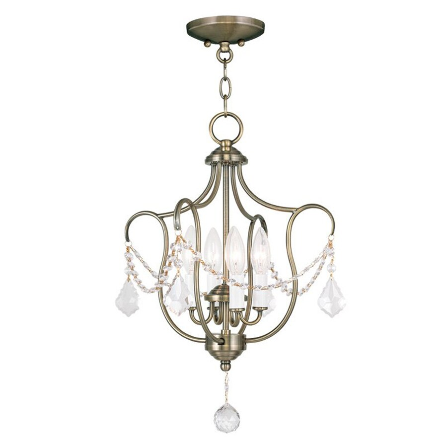 Livex Lighting Chesterfield 14-in W Antique Brass Shades Semi-Flush Mount Light