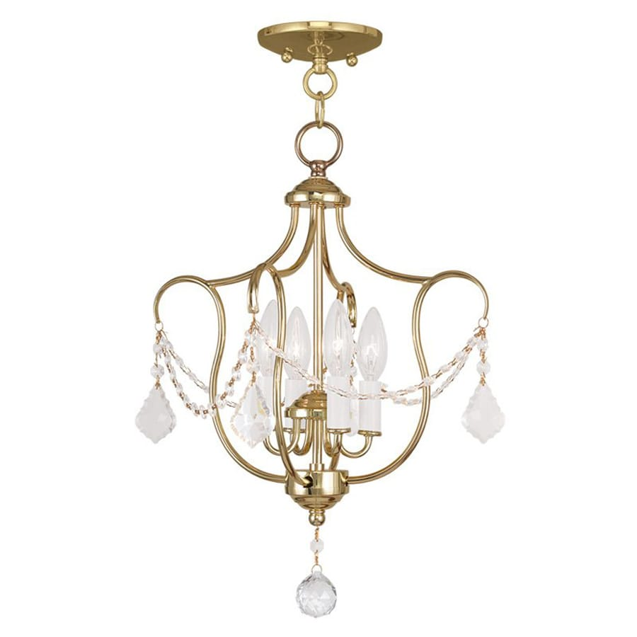 Livex Lighting Chesterfield 14-in W Polished Brass Shades Semi-Flush Mount Light