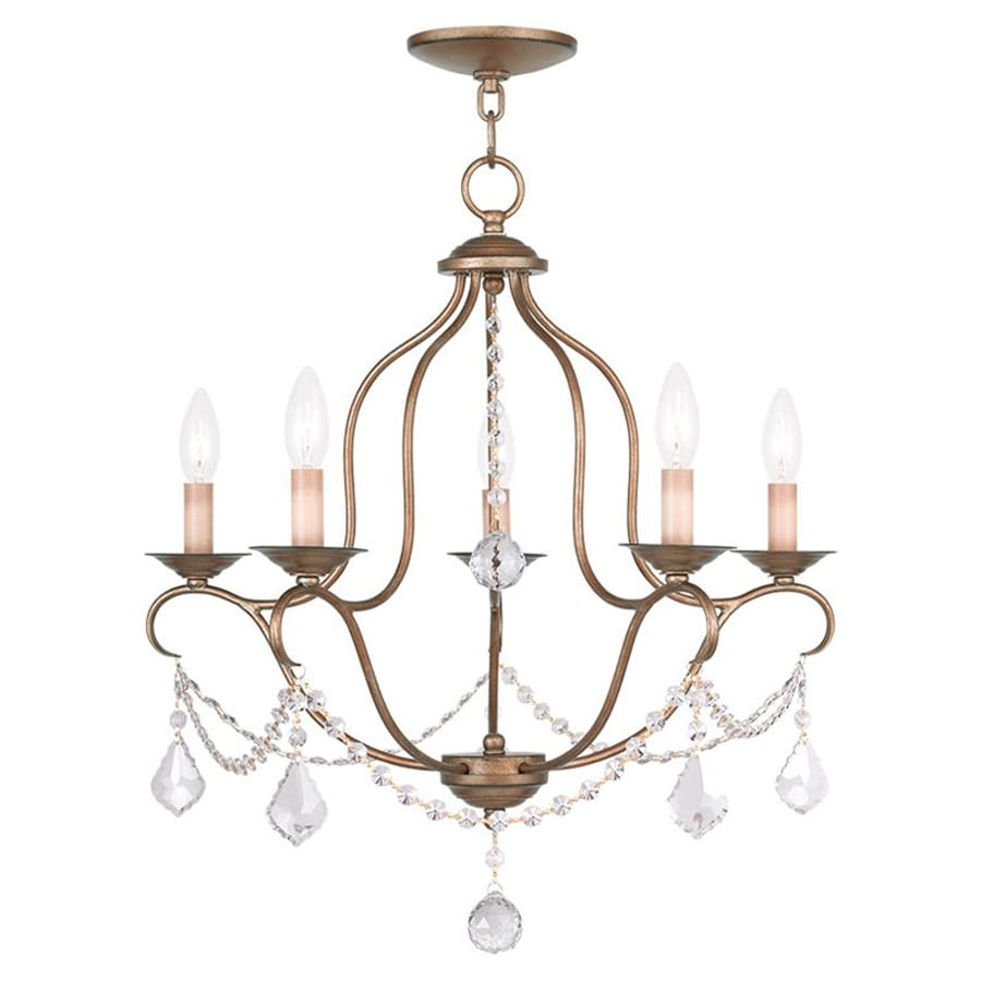 Livex Lighting Chesterfield 22-in 5-Light Antique Gold Leaf Vintage Candle Chandelier