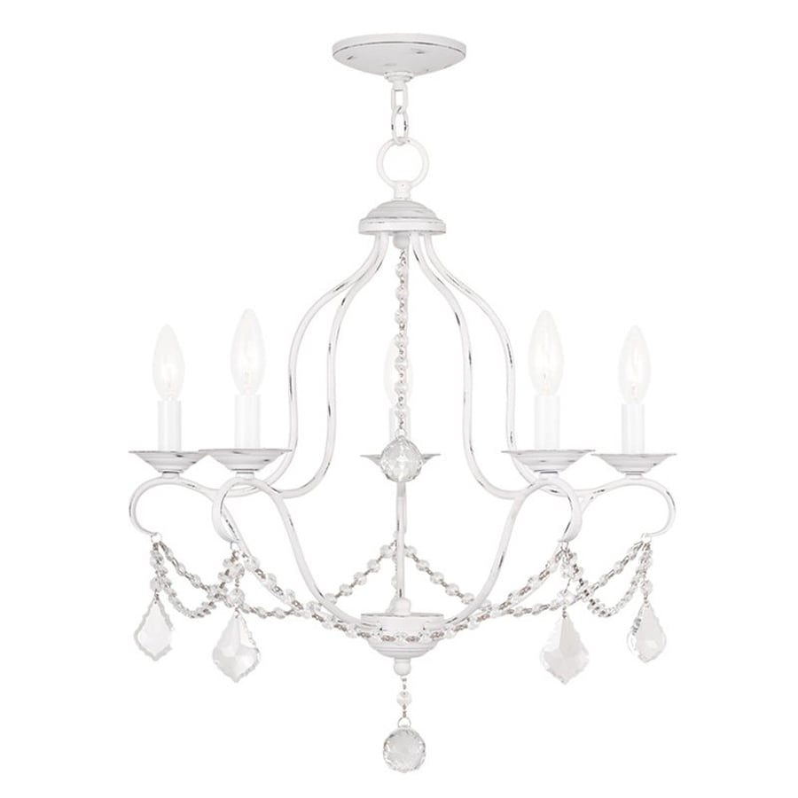 Livex Lighting Chesterfield 22-in 5-Light Antique White Vintage Candle Chandelier