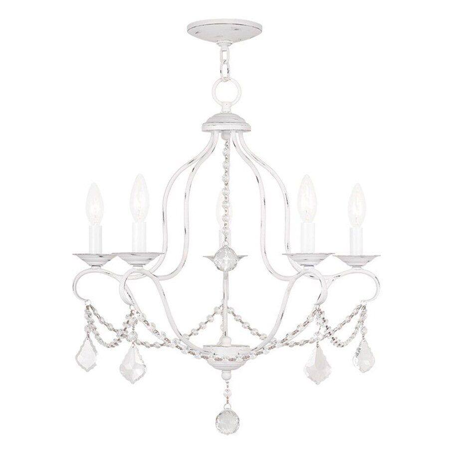 Livex Lighting Chesterfield 22-in 5-Light Antique white Vintage Candle Chandelier  sc 1 st  Loweu0027s & Shop Livex Lighting Chesterfield 22-in 5-Light Antique white Vintage ...