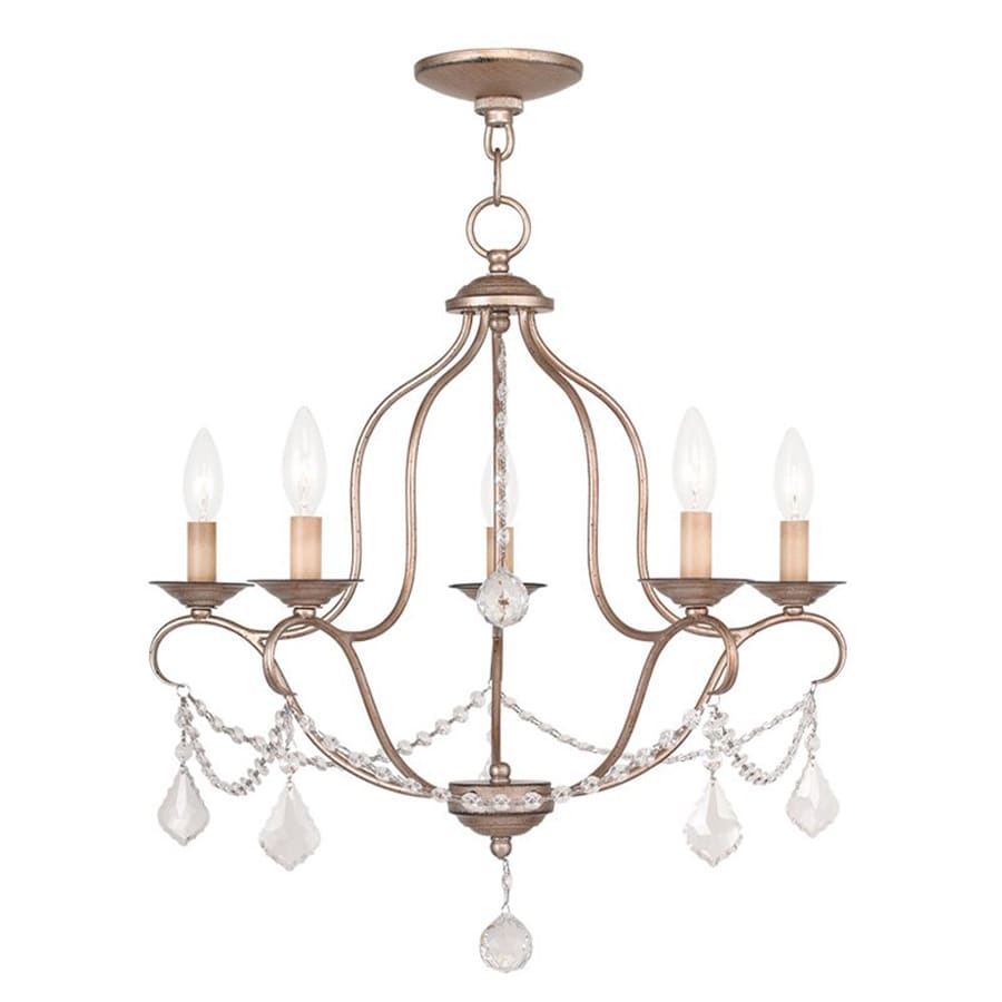 Livex Lighting Chesterfield 22-in 5-Light Antique silver leaf Vintage  Candle Chandelier - Shop Livex Lighting Chesterfield 22-in 5-Light Antique Silver Leaf