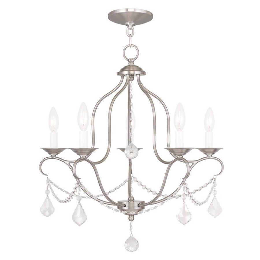 Livex Lighting Chesterfield 22-in 5-Light Brushed Nickel Vintage Candle Chandelier