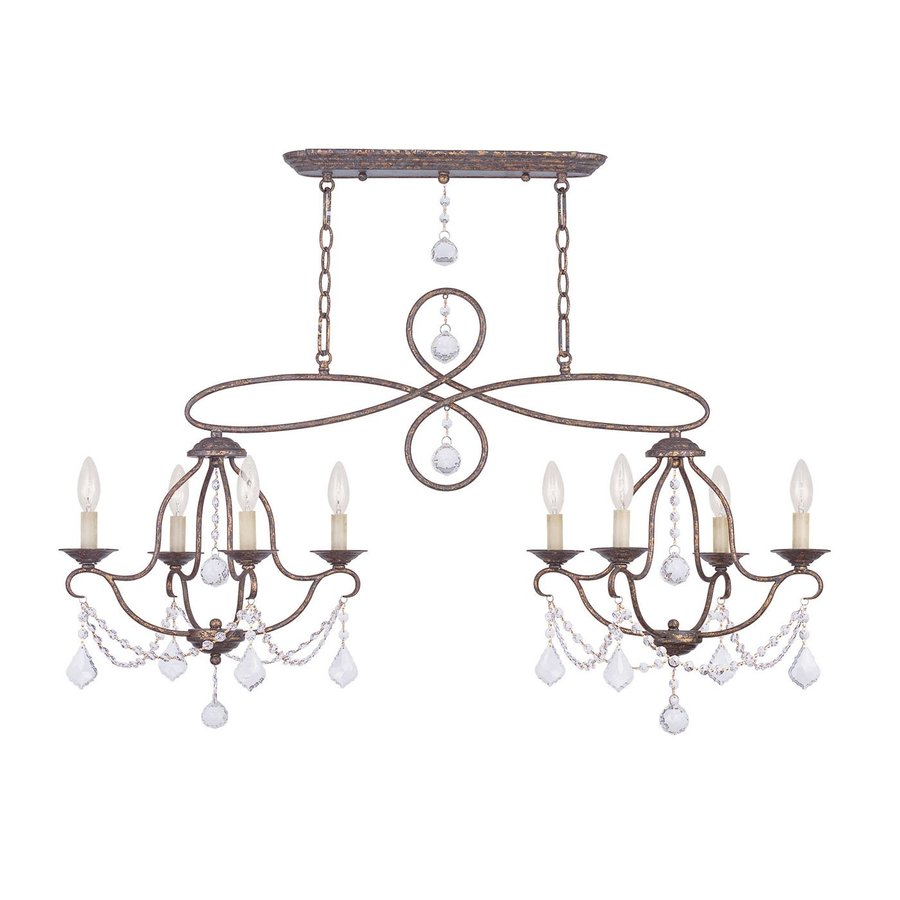 Livex Lighting Chesterfield 43-in W 8-Light Venetian Golden Bronze Kitchen Island Light with Shades