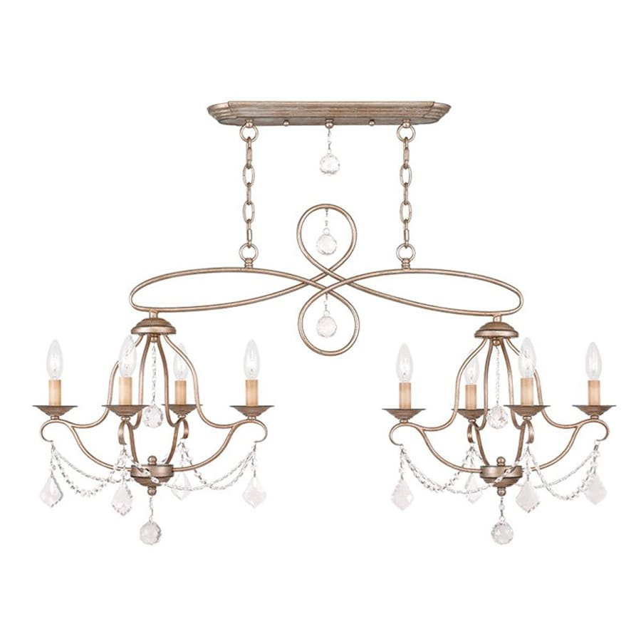 Livex Lighting Chesterfield 18-in W 8-Light Antique Silver Leaf Kitchen Island Light with Shade
