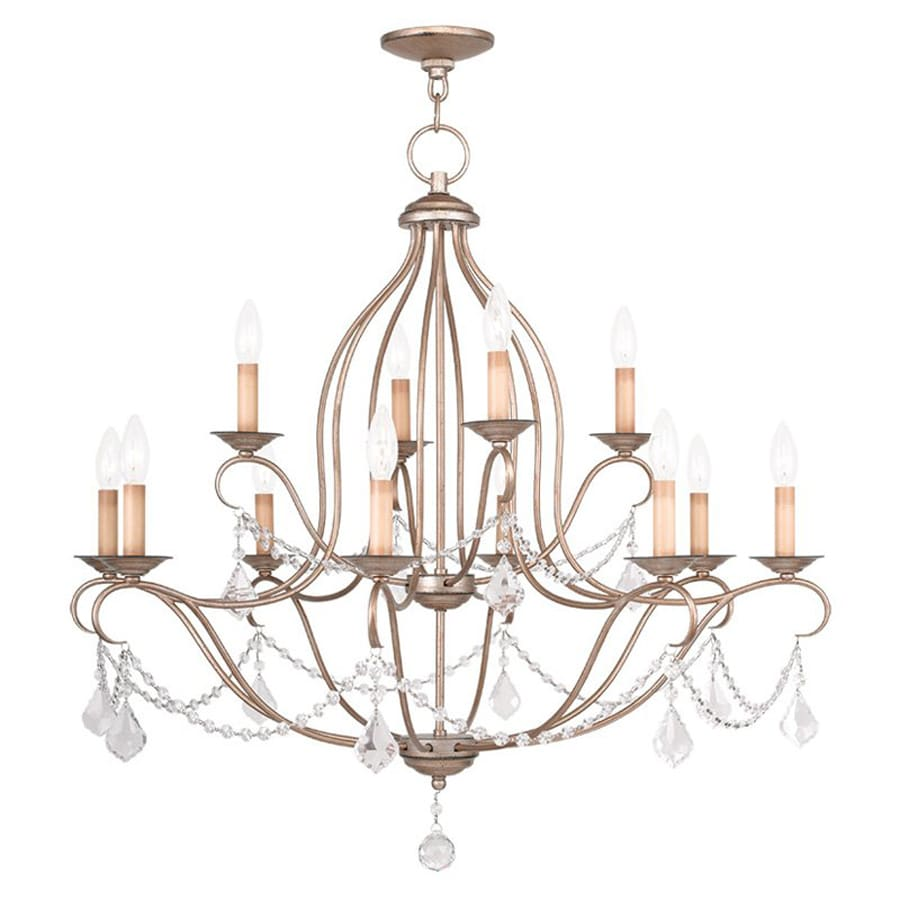 Livex Lighting Chesterfield 34-in 12-Light Antique Silver Leaf Vintage Tiered Chandelier