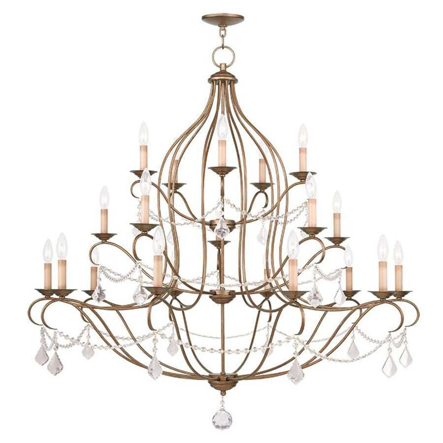 Livex Lighting Chesterfield 46-in 20-Light Antique Gold Leaf Vintage Tiered Chandelier