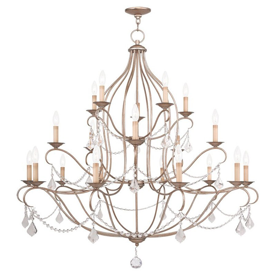 Livex Lighting Chesterfield 46-in 20-Light Antique Silver Leaf Vintage Tiered Chandelier