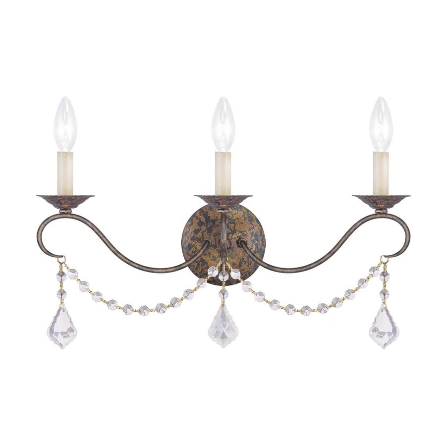 Livex Lighting Chesterfield 21-in W 3-Light Venetian Golden Bronze Candle Hardwired Wall Sconce