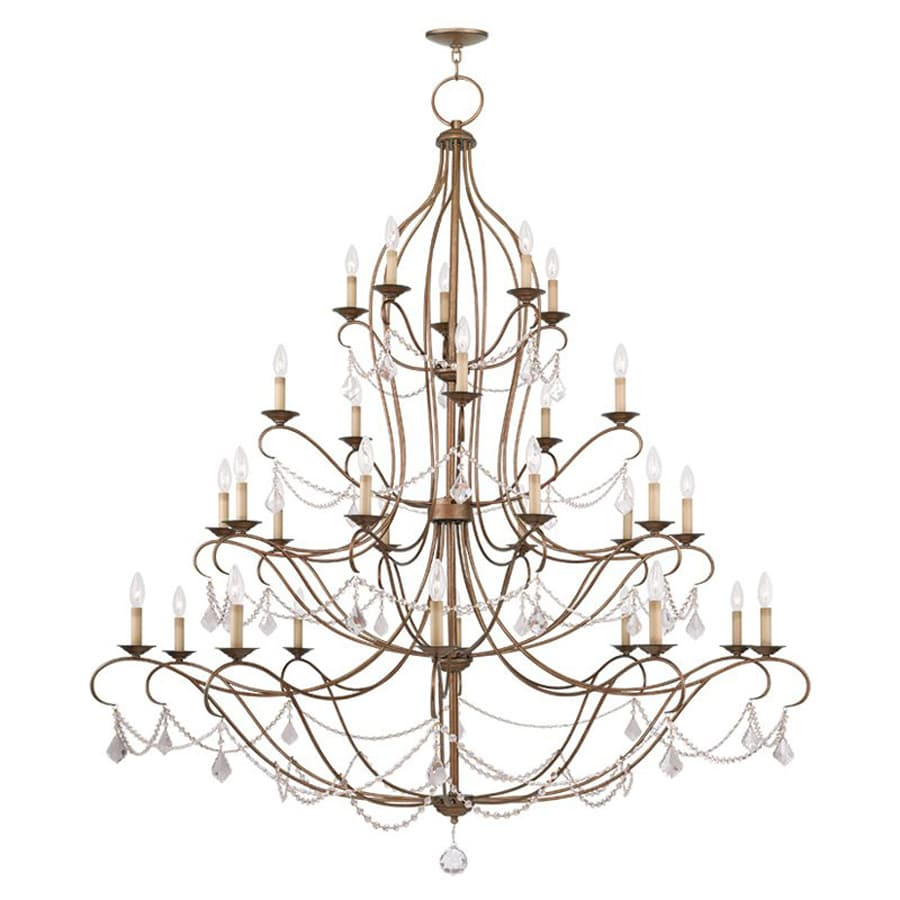 Livex Lighting Chesterfield 60-in 30-Light Antique gold leaf Vintage Tiered Chandelier