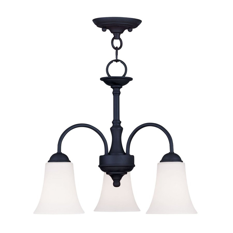 Livex Lighting Ridgedale 18-in 3-Light Black Shaded Chandelier