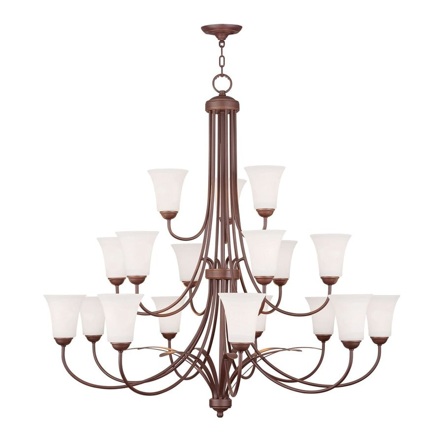 Livex Lighting Ridgedale 44-in 18-Light Vintage Bronze Wrought Iron Tiered Chandelier