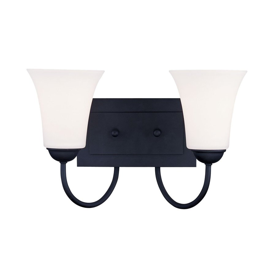 Livex Lighting Ridgedale 14.5-in W 2-Light Black Arm Wall Sconce