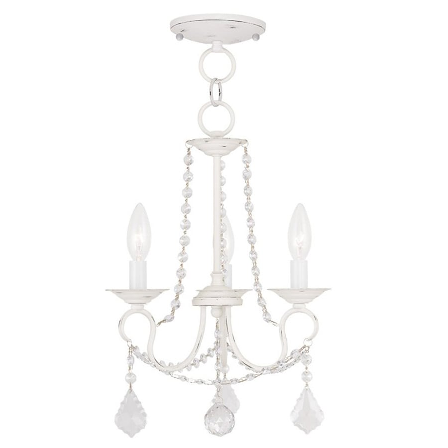 Livex Lighting Pennington 13-in 3-Light Antique White Vintage Candle Chandelier