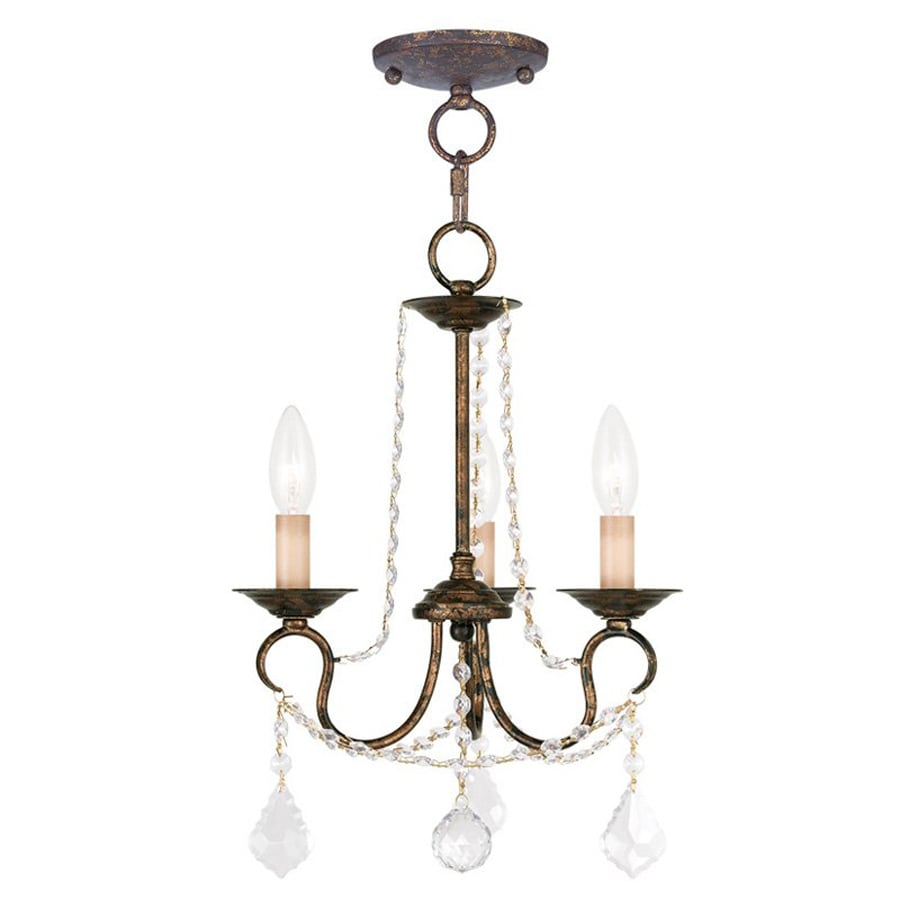 Livex Lighting Pennington 13-in 3-Light Venetian Golden Bronze Vintage Candle Chandelier
