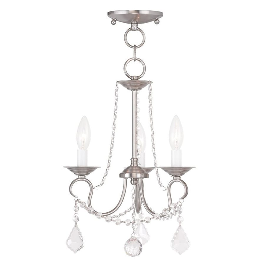 Livex Lighting Pennington 13-in 3-Light Brushed Nickel Vintage Candle Chandelier