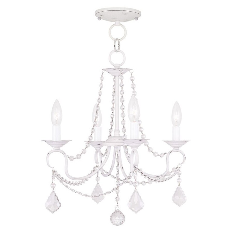 Livex Lighting Pennington 18-in 4-Light Antique White Vintage Candle Chandelier