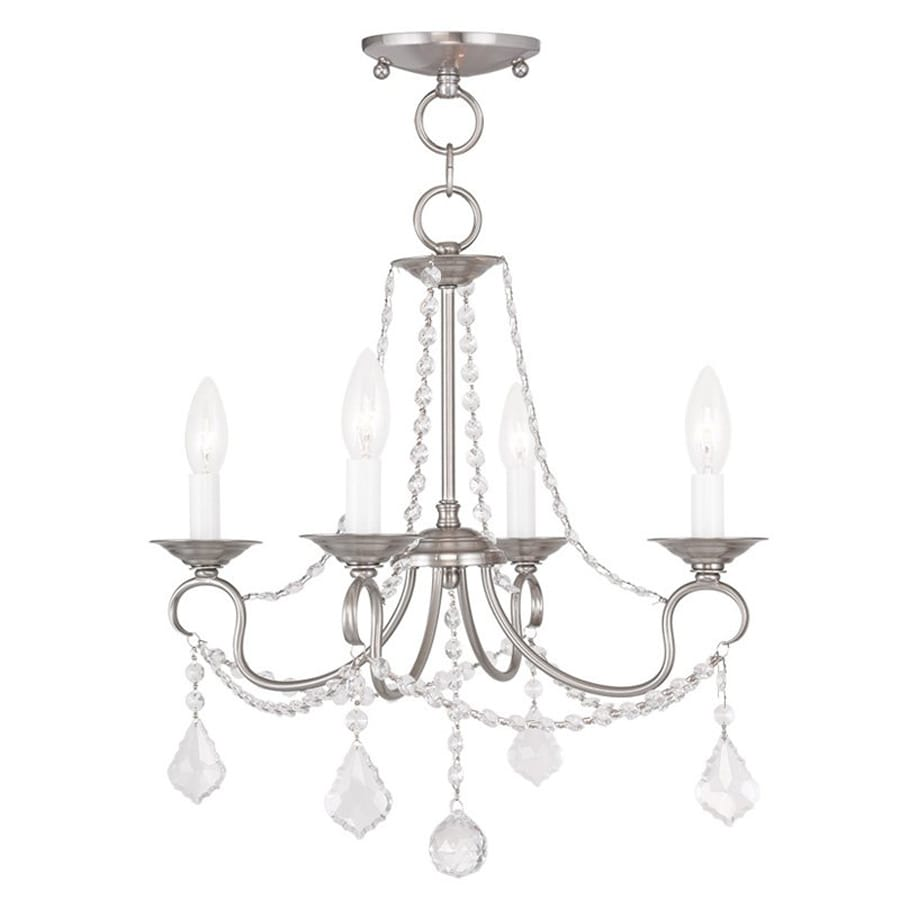 Livex Lighting Pennington 18-in 4-Light Brushed Nickel Vintage Candle Chandelier