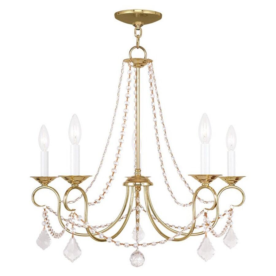 Livex Lighting Pennington 25-in 5-Light Polished Brass Vintage Candle Chandelier