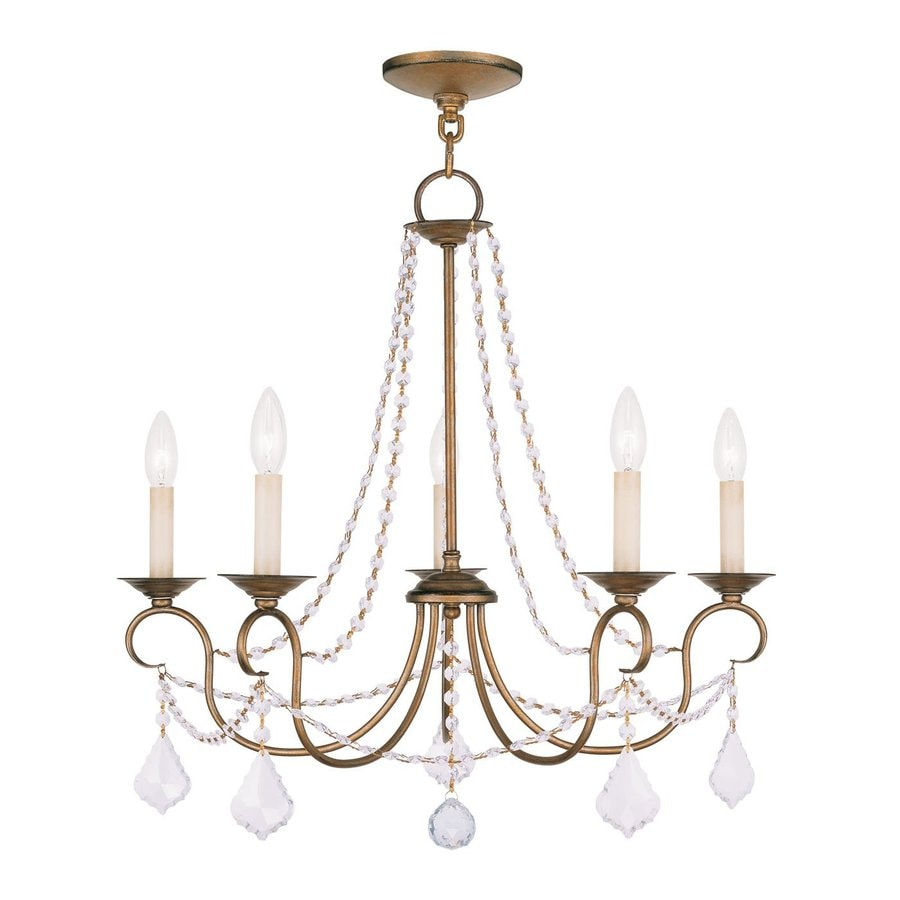 Livex Lighting Pennington 25-in 5-Light Antique Gold Leaf Vintage Candle Chandelier