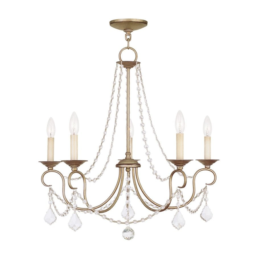 Livex Lighting Pennington 25-in 5-Light Antique Silver Leaf Vintage Candle Chandelier