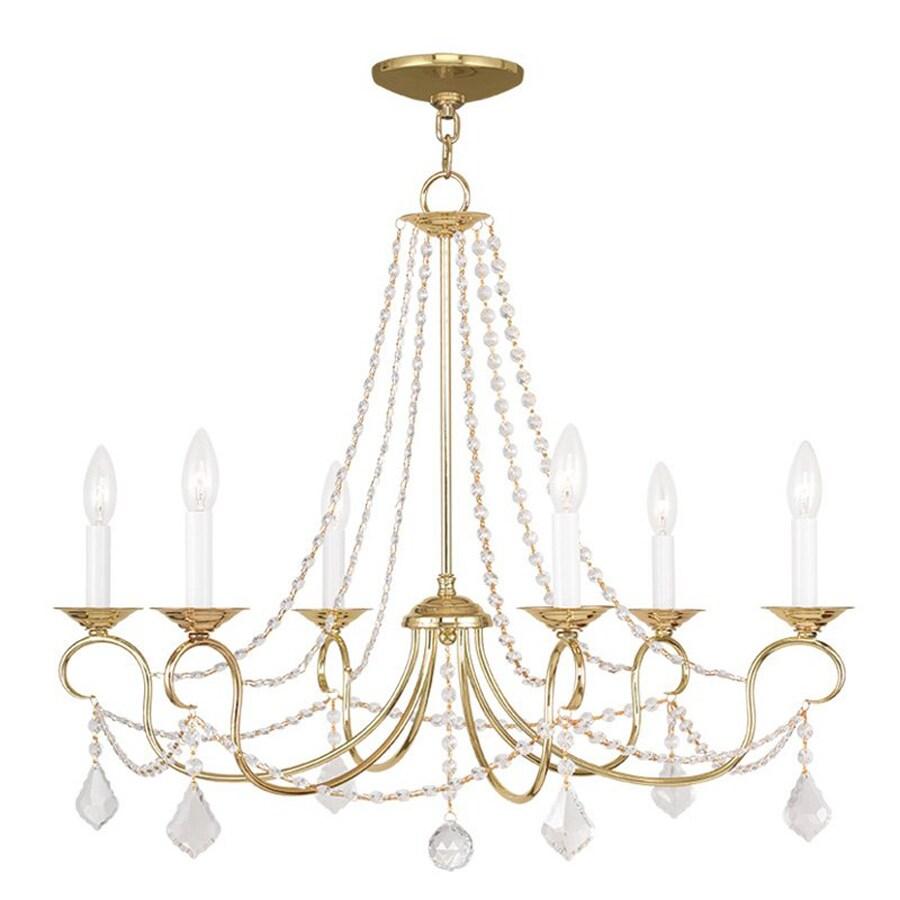 Livex Lighting Pennington 28-in 6-Light Polished Brass Vintage Candle Chandelier