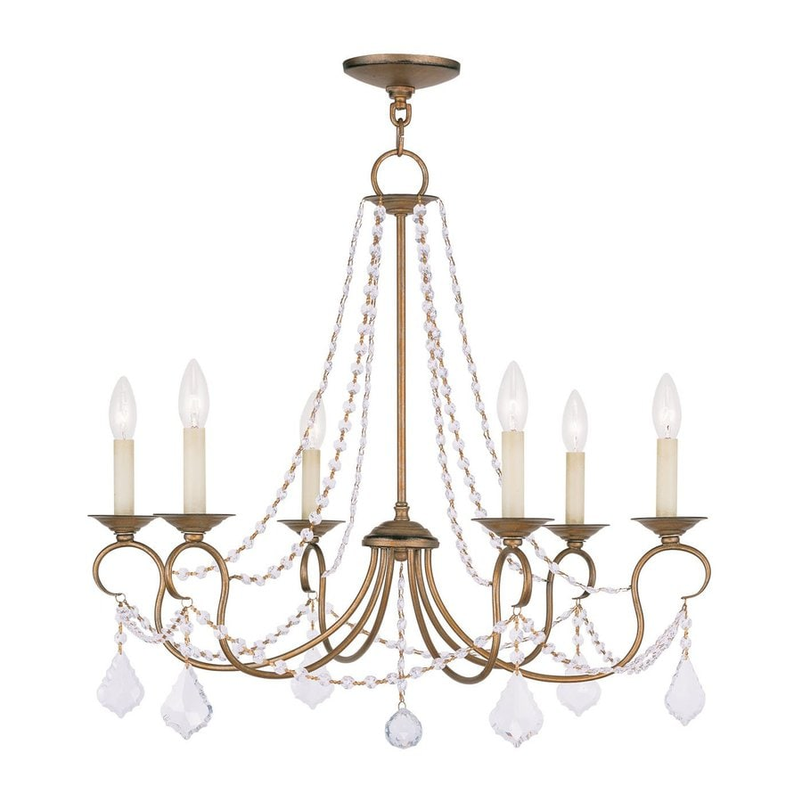 Livex Lighting Pennington 28-in 6-Light Antique gold leaf Vintage Candle  Chandelier - Shop Livex Lighting Pennington 28-in 6-Light Antique Gold Leaf