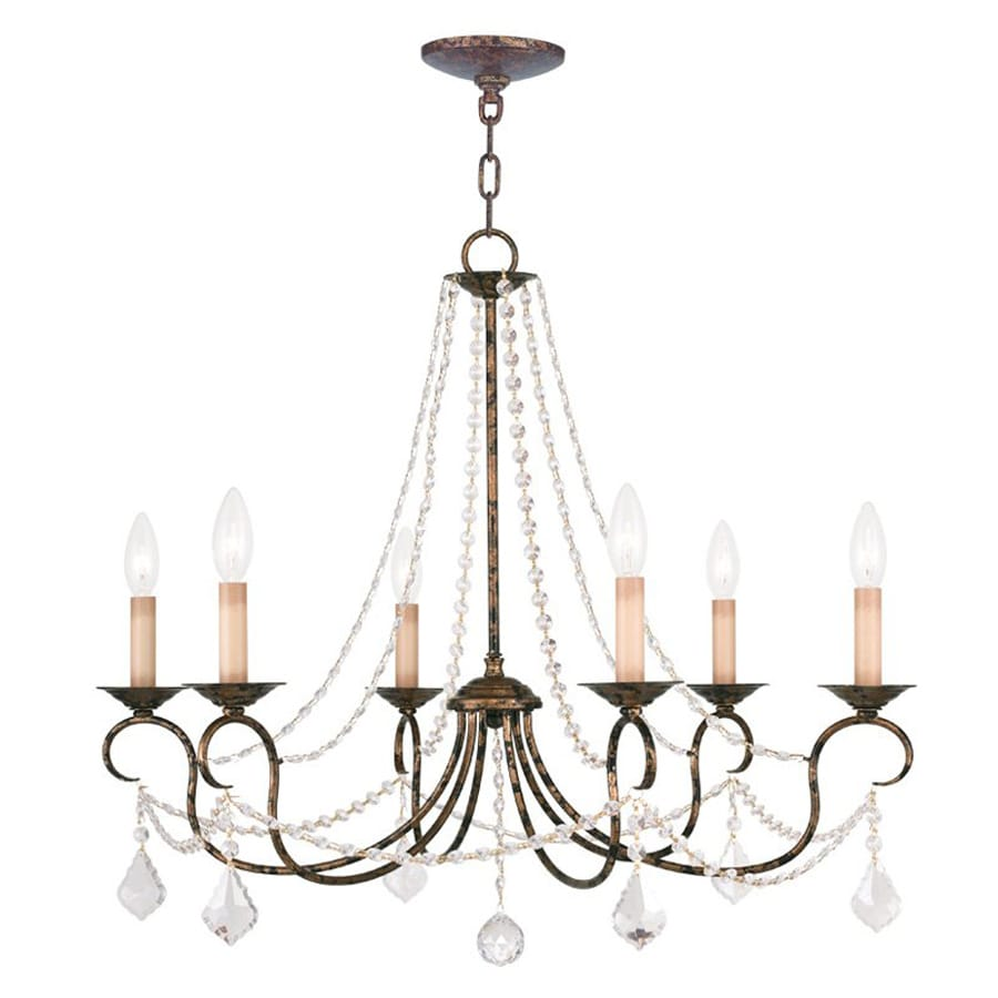 Livex Lighting Pennington 28-in 6-Light Venetian Golden Bronze Vintage Candle Chandelier