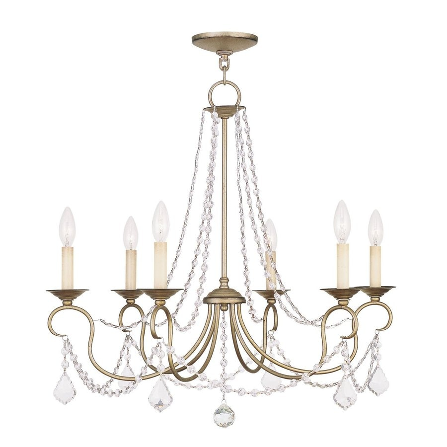 Livex Lighting Pennington 28-in 6-Light Antique Silver Leaf Vintage Candle Chandelier