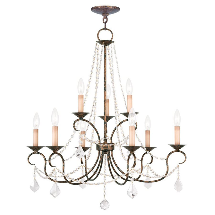 Livex Lighting Pennington 28-in 9-Light Venetian Golden Bronze Vintage Candle Chandelier