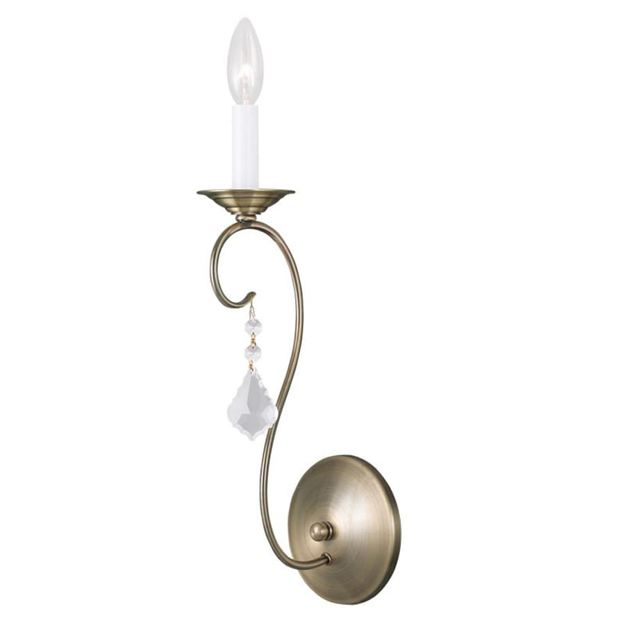 Livex Lighting Chesterfield/Pennington 4.75-in W 1-Light Antique Brass Vintage Candle Wall Sconce