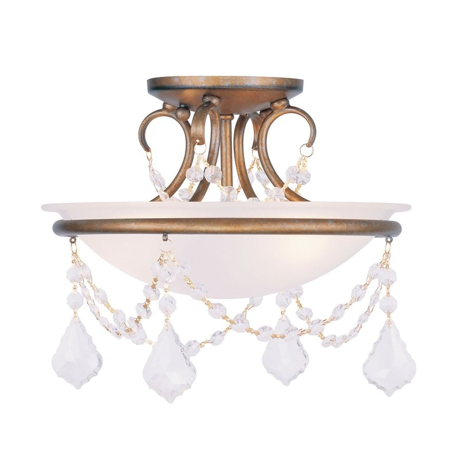 Livex Lighting Chesterfield Pennington 12-in W Antique Gold Leaf Alabaster Glass Semi-Flush Mount Light
