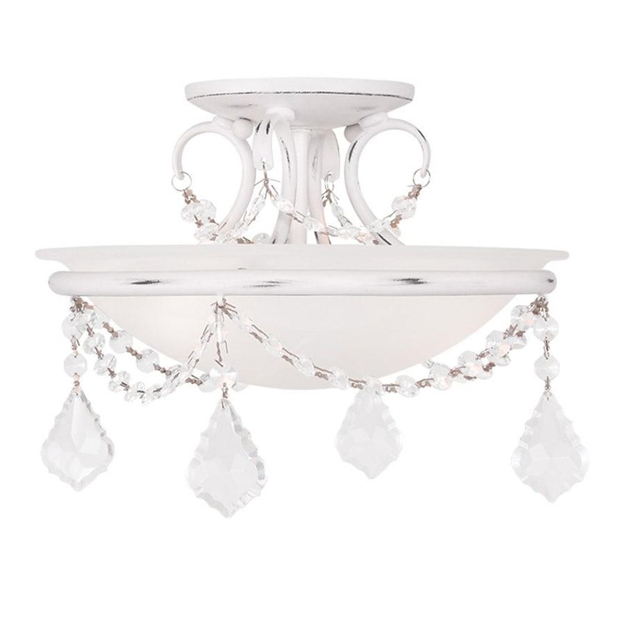 Livex Lighting Chesterfield Pennington 12-in W Antique white Alabaster Glass Semi-Flush Mount Light