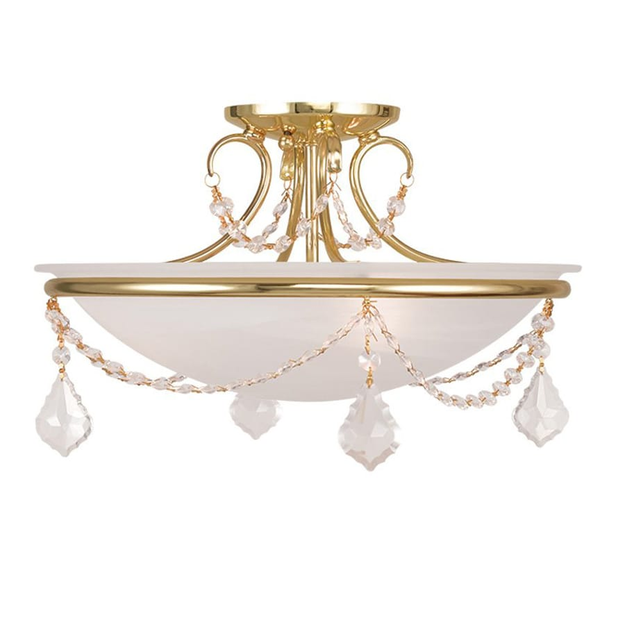 Livex Lighting Chesterfield Pennington 16-in W Polished Brass Alabaster Glass Semi-Flush Mount Light