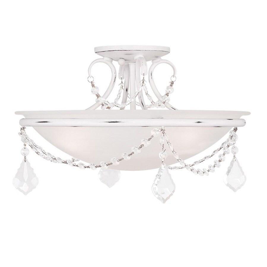 Livex Lighting Chesterfield Pennington 16-in W Antique White Alabaster Glass Semi-Flush Mount Light