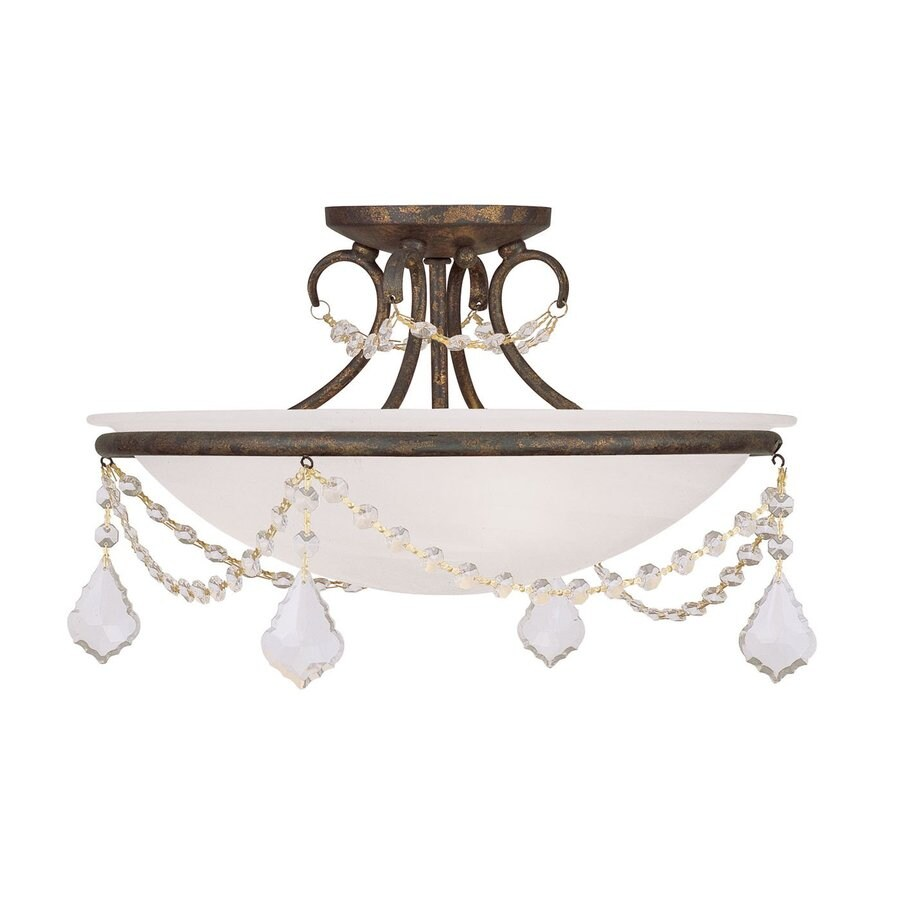 Livex Lighting Chesterfield Pennington 16-in W Venetian Golden Bronze Alabaster Glass Semi-Flush Mount Light