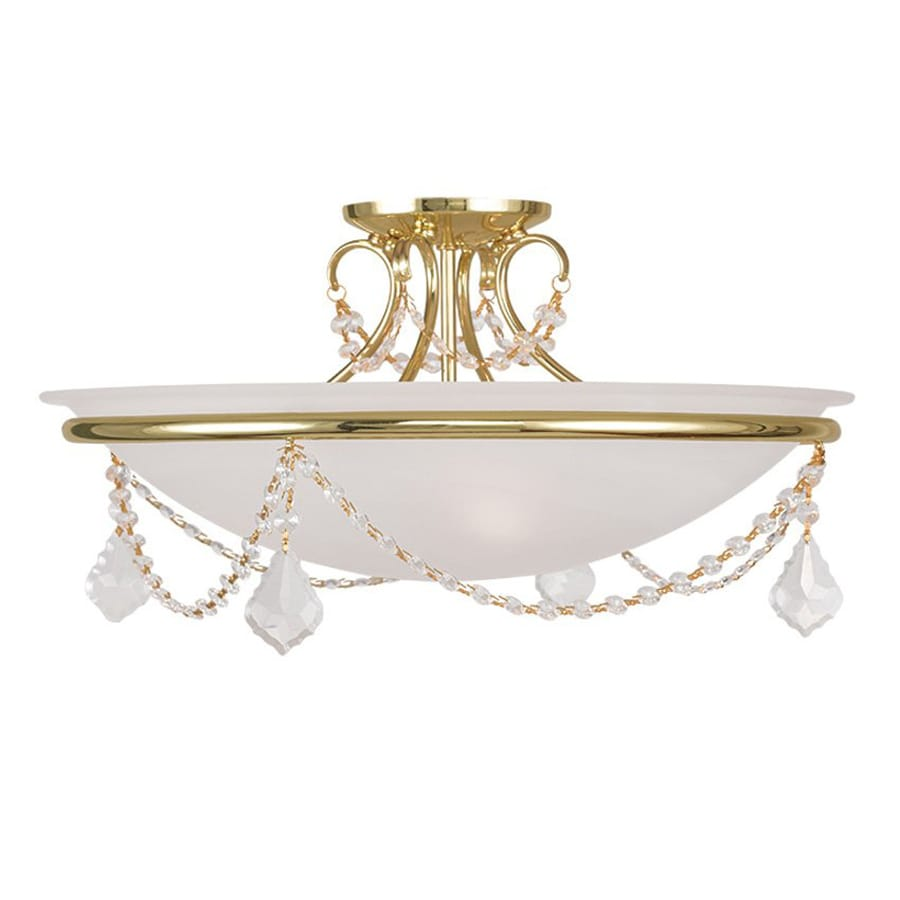 Livex Lighting Chesterfield Pennington 20-in W Polished Brass Alabaster Glass Semi-Flush Mount Light