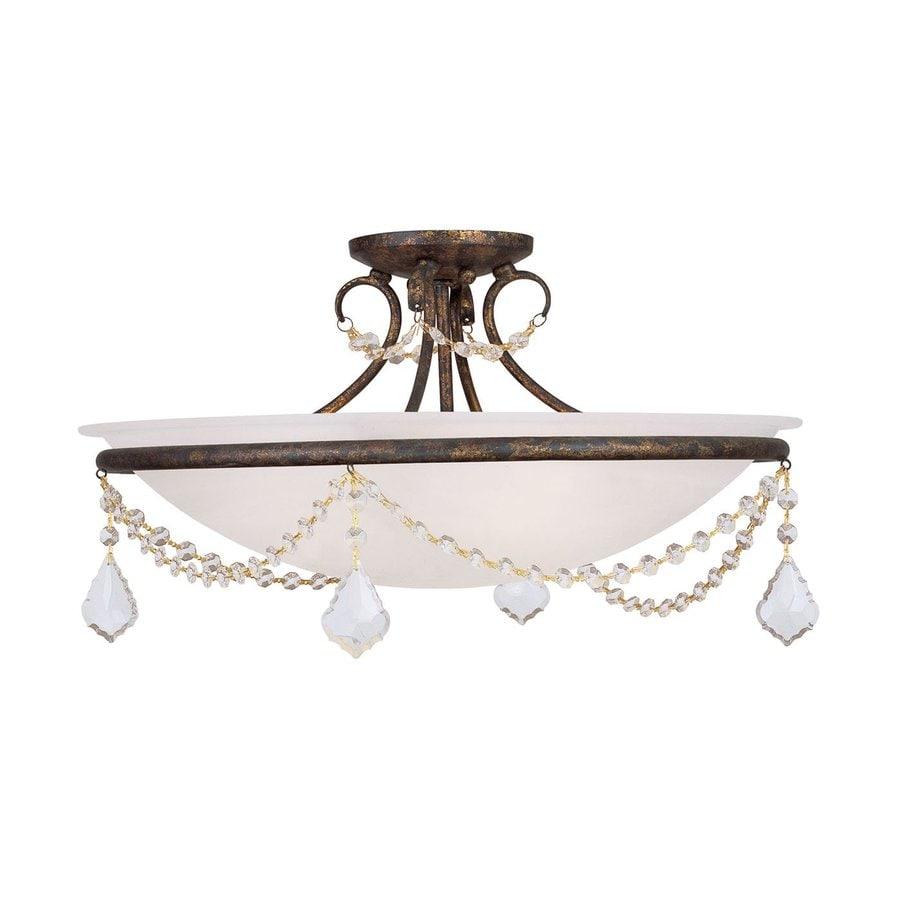 Livex Lighting Chesterfield Pennington 20-in W Venetian Golden Bronze Alabaster Glass Semi-Flush Mount Light