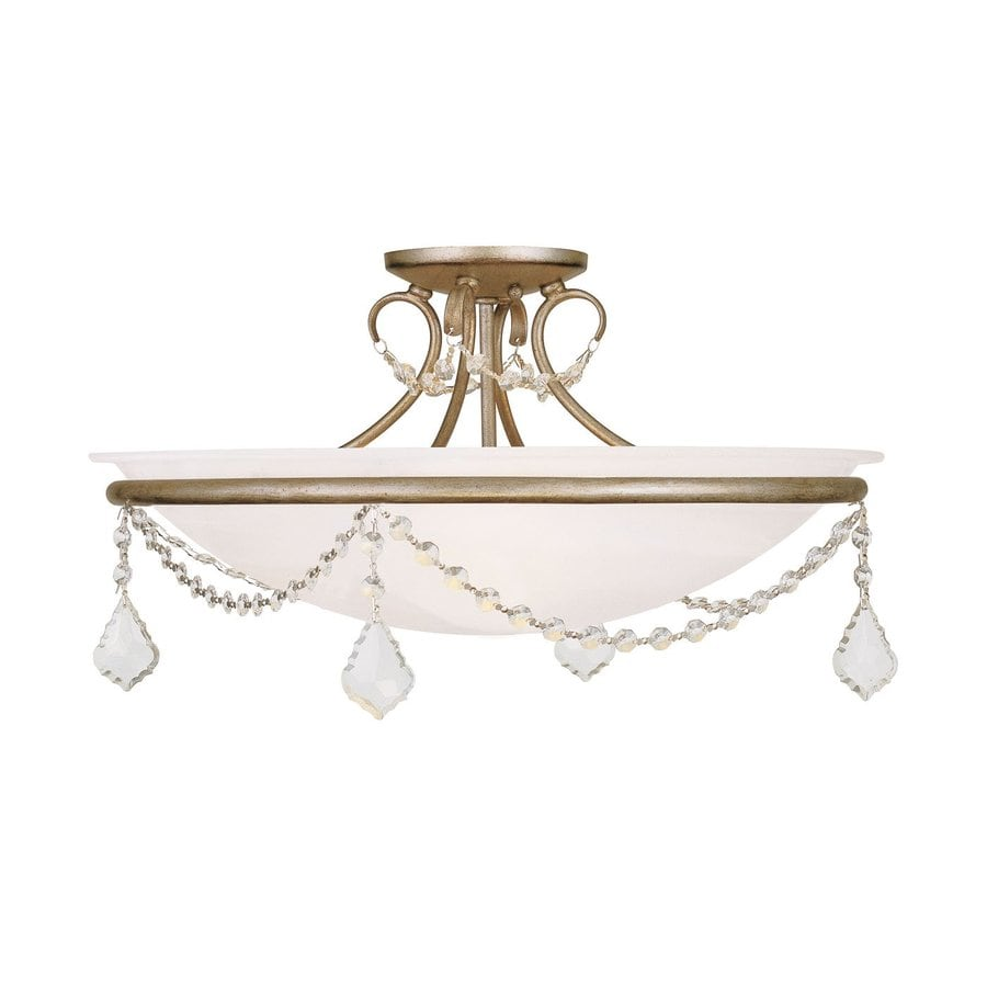 Livex Lighting Chesterfield Pennington 20-in W Antique Silver Leaf Alabaster Glass Semi-Flush Mount Light