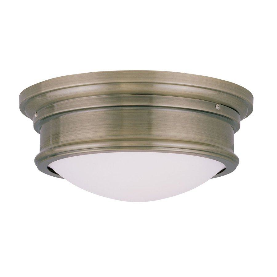 Livex Lighting Astor 13-in W Antique brass Flush Mount Light